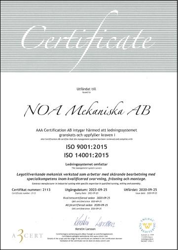 ISO 9001 & 14001 Certifikat